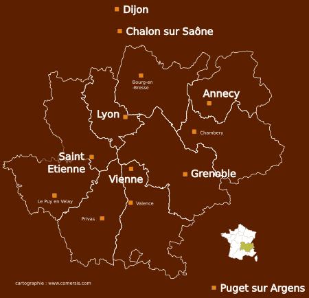 carte-rhone-lyon-vienne-grenoble-annecy-Saint-Etienne-dijon-chalon
